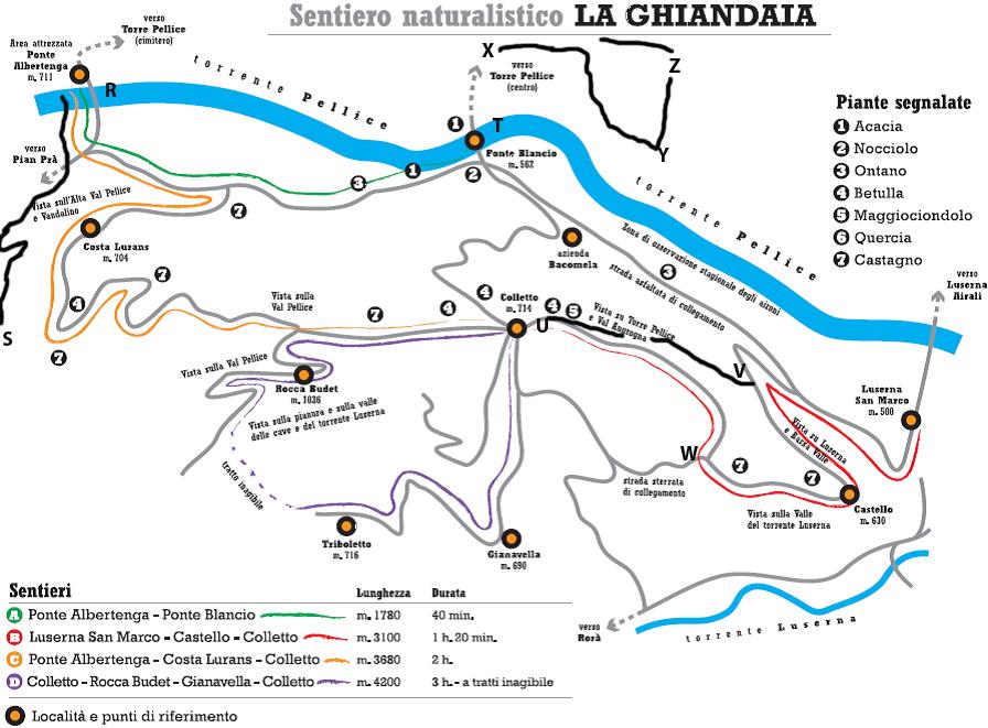 Mappa Sentiero Naturalistico La Ghiandaia